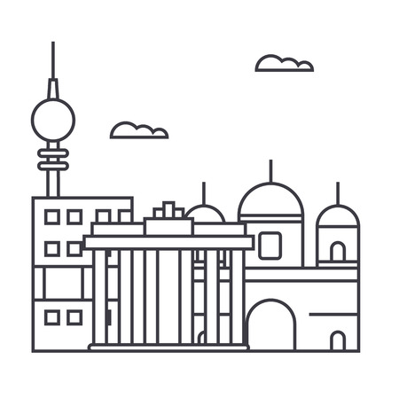 berlin vector line icon, sign, illustration on white background, editable strokes