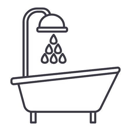 バスタブ シャワー ベクトル線アイコン、記号、白い背景に、編集可能なストロークの図