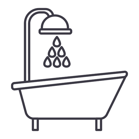 bathtub shower vector line icon, sign, illustration on white background, editable strokes Ilustração