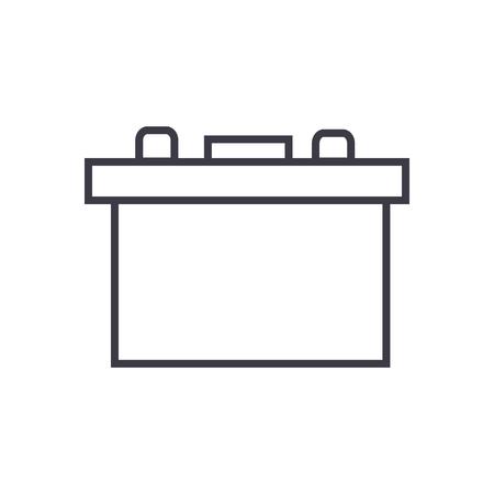 battery auto vector line icon, sign, illustration on white background, editable strokes Illustration