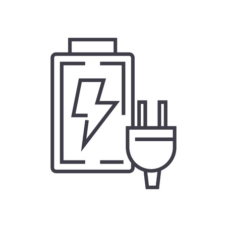 battery charger vector line icon, sign, illustration on white background, editable strokes