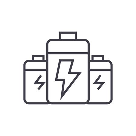 배터리, 에너지 전력 벡터 라인 아이콘, 기호, 흰색 배경에 그림 편집 가능한 획 일러스트