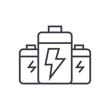 battery,energy power vector line icon, sign, illustration on white background, editable strokes Ilustração