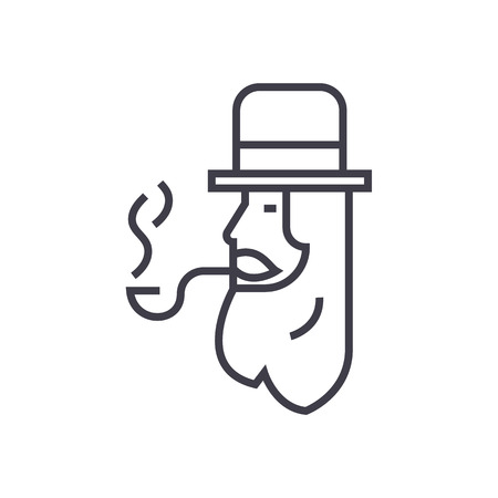 red clover: leprechaun with smoke pipe vector line icon, sign, illustration on white background, editable strokes