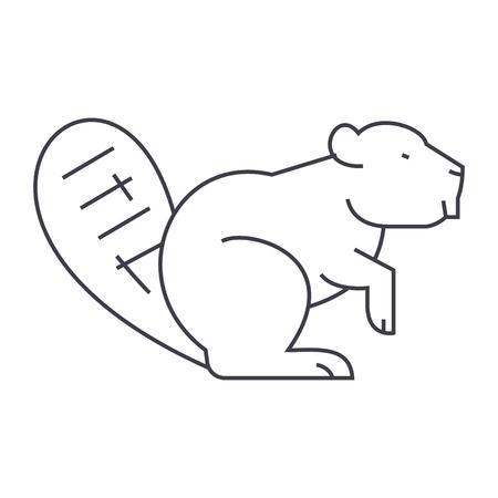 beaver vector line icon, sign, illustration on white background, editable strokes