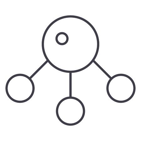 atom,molecula vector line icon, sign, illustration on white background, editable strokes Illustration