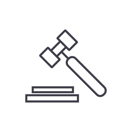 auction, hammer vector line icon, sign, illustration on white background, editable strokes 向量圖像