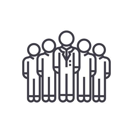 publiek, marketingteam, werkgroep vector lijn pictogram, teken, illustratie op witte achtergrond, bewerkbare lijnen Stock Illustratie