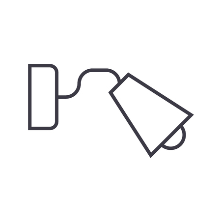 bedside lamp vector line icon, sign, illustration on white background, editable strokes