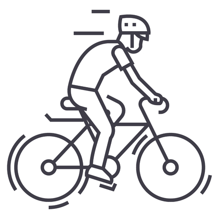 bicycling,bycicle man vector line icon, sign, illustration on white background, editable strokes