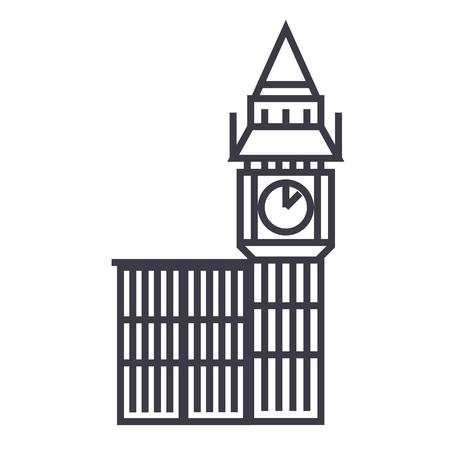 british culture: big ben london vector line icon, sign, illustration on white background, editable strokes