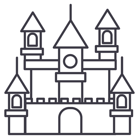 big castle,germany vector line icon, sign, illustration on white background, editable strokes