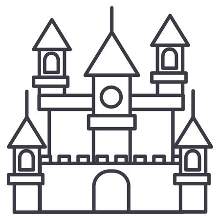 groot kasteel, Duitsland vector lijn pictogram, teken, illustratie op witte achtergrond, bewerkbare lijnen Stock Illustratie