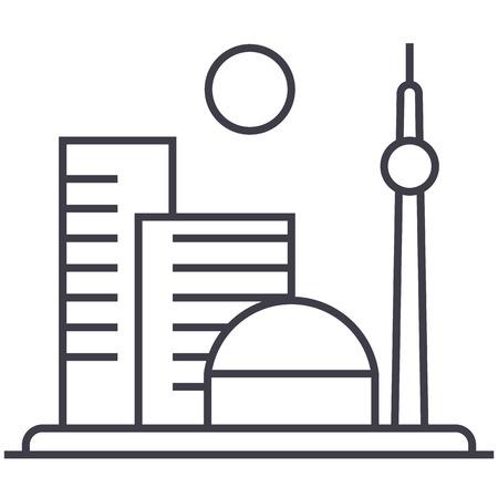 大都市ベクトル線アイコン、記号、白い背景に、編集可能なストロークの図  イラスト・ベクター素材