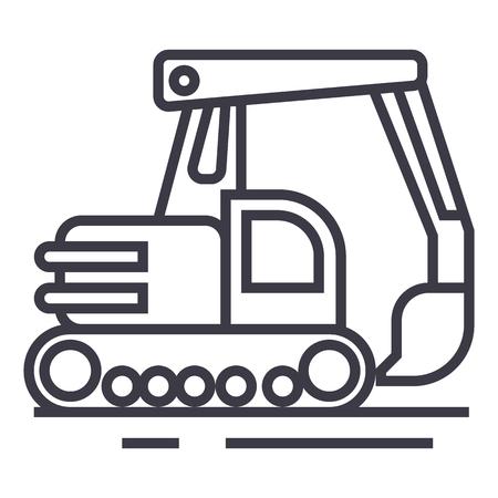 big excavator vector line icon, sign, illustration on white background, editable strokes Illustration