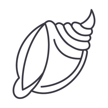 big shell  vector line icon, sign, illustration on white background, editable strokes