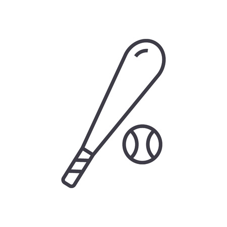 baseball vector line icon, sign, illustration on white background, editable strokes Illustration