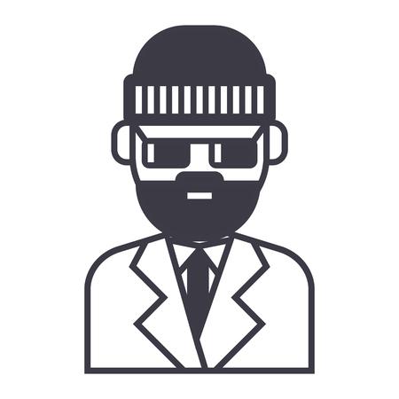 スイート ベクトル線アイコン、記号、白い背景に、編集可能なストロークの図で髭の男