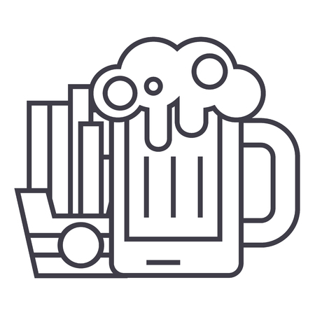 beer and fries vector line icon, sign, illustration on white background, editable strokes