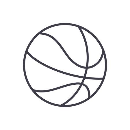 icona linea di vettore del segno di pallacanestro, segno, illustrazione su priorità bassa bianca, colpi editabili