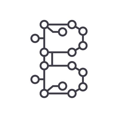 blockchain technologie, circuit vector lijn pictogram, teken, illustratie op witte achtergrond, bewerkbare lijnen
