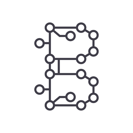 blockchain technology,circuit vector line icon, sign, illustration on white background, editable strokes Illustration