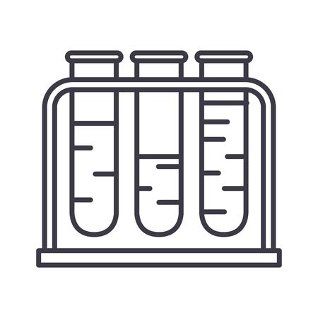 血液検査ベクトル線アイコン、記号、白い背景に、編集可能なストロークの図  イラスト・ベクター素材