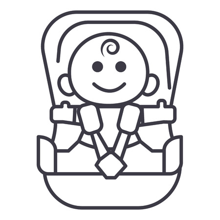 child sitting: baby in car, security chair vector line icon, sign, illustration on white background, editable strokes Illustration