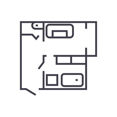 blueprint,flat house plan vector line icon, sign, illustration on white background, editable strokes