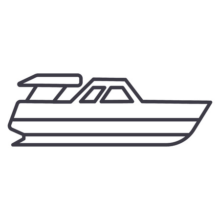boat launch,yacht vector line icon, sign, illustration on white background, editable strokes Illustration