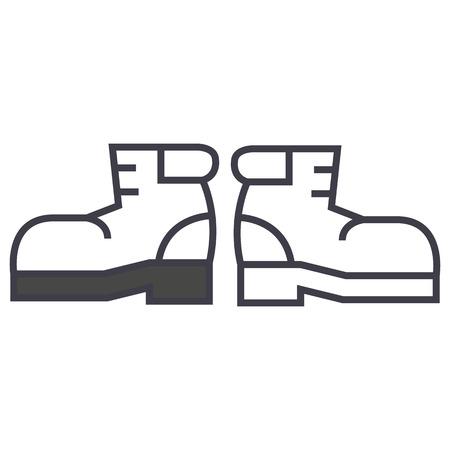 laarzen vector lijn pictogram, teken, illustratie op witte achtergrond, bewerkbare lijnen Stock Illustratie