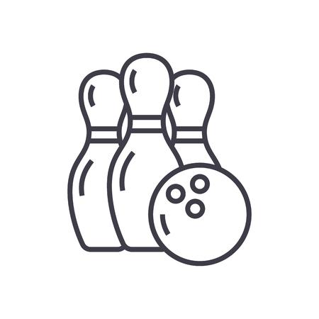 bowling vector line icon, sign, illustration on white background, editable strokes Ilustração