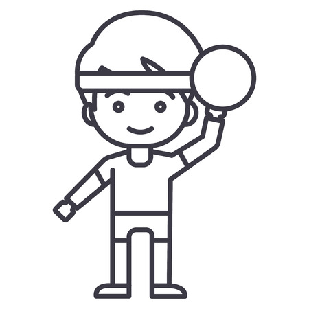 boy playing  with ball vector line icon, sign, illustration on white background, editable strokes Illustration