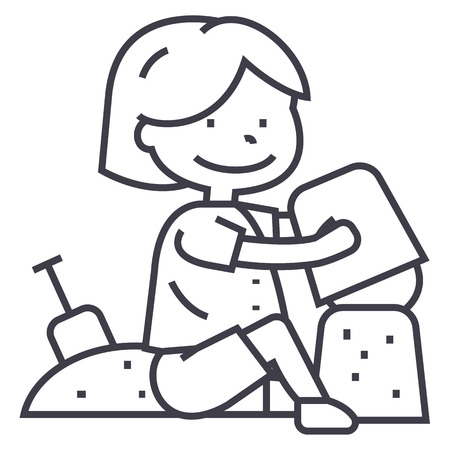 boy playing with sand on beach or sandbox,scapula and bucket vector line icon, sign, illustration on white background, editable strokes