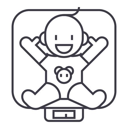 Baby auf Skalen Vektor Liniensymbol, Zeichen, Illustration auf weißem Hintergrund, editierbare Striche Standard-Bild - 87221500