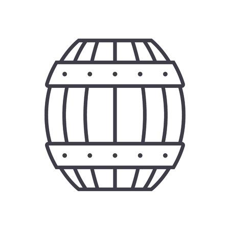 barrel vector line icon, sign, illustration on white background, editable strokes