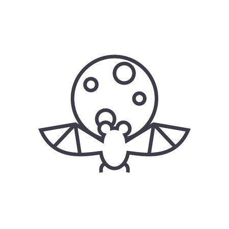 bat, full moon   vector line icon, sign, illustration on white background, editable strokes