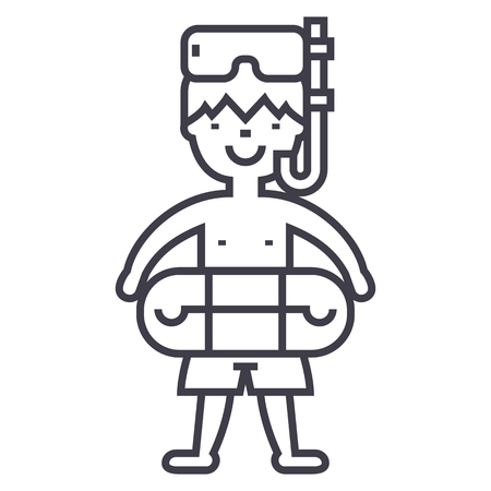 boy with swimming mask and circle,swimming pool vector line icon, sign, illustration on white background, editable strokes