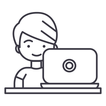 girl laptop: boy working on laptop vector line icon, sign, illustration on white background, editable strokes