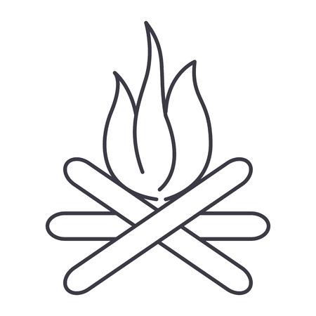 모닥불 벡터 라인 아이콘, 기호, 흰색 배경에 그림 편집 가능한 획
