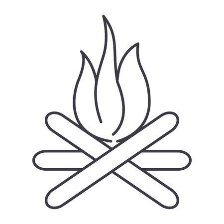 bonfire vector line icon, sign, illustration on white background, editable strokes