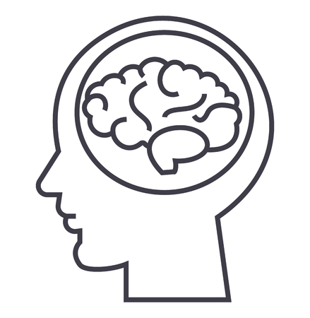 brain in head,brainstorm, in mind vector line icon, sign, illustration on white background, editable strokes