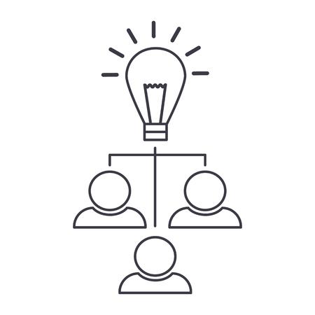 brainstorm, idee generatie, lamp met gebruikers vector lijn pictogram, teken, illustratie op witte achtergrond, bewerkbare lijnen