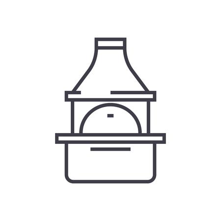 brick grill vector line icon, sign, illustration on white background, editable strokes Ilustração
