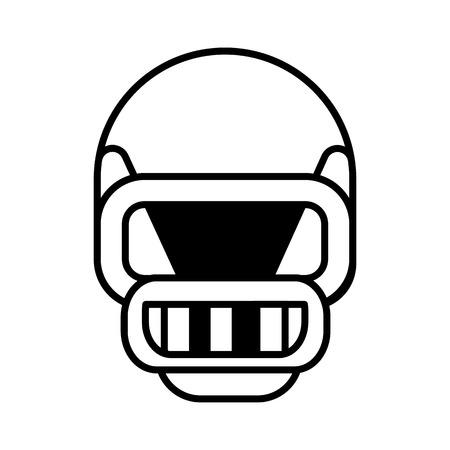 american football helmet vector line icon, sign, illustration on white background, editable strokes Illustration