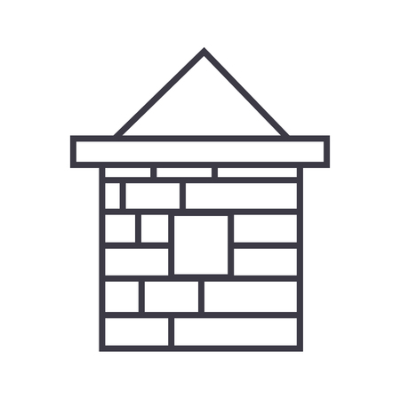 brick house  vector line icon, sign, illustration on white background, editable strokes