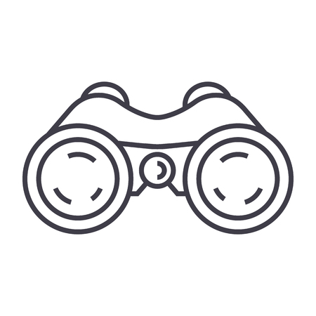 binoculars,periscope,vision vector line icon, sign, illustration on white background, editable strokes Çizim