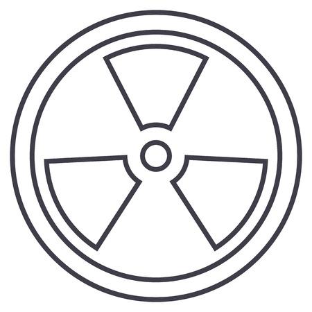 high voltage symbol: biohazard,dangerous radiation vector line icon, sign, illustration on white background, editable strokes