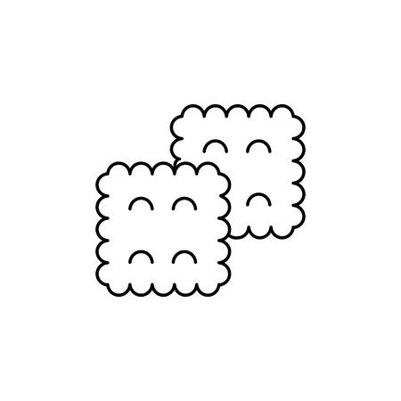 koekje vector lijn pictogram, teken, illustratie op witte achtergrond, bewerkbare lijnen Stock Illustratie