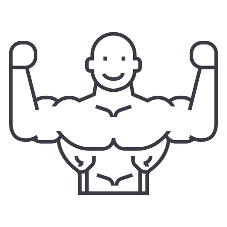 bodybuilder vector lijn icoon, teken, illustratie op een witte achtergrond, bewerkbare slag